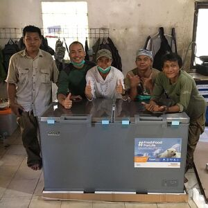 Volunteers donate to the Nyaru Menteng Orangutan Sanctuary