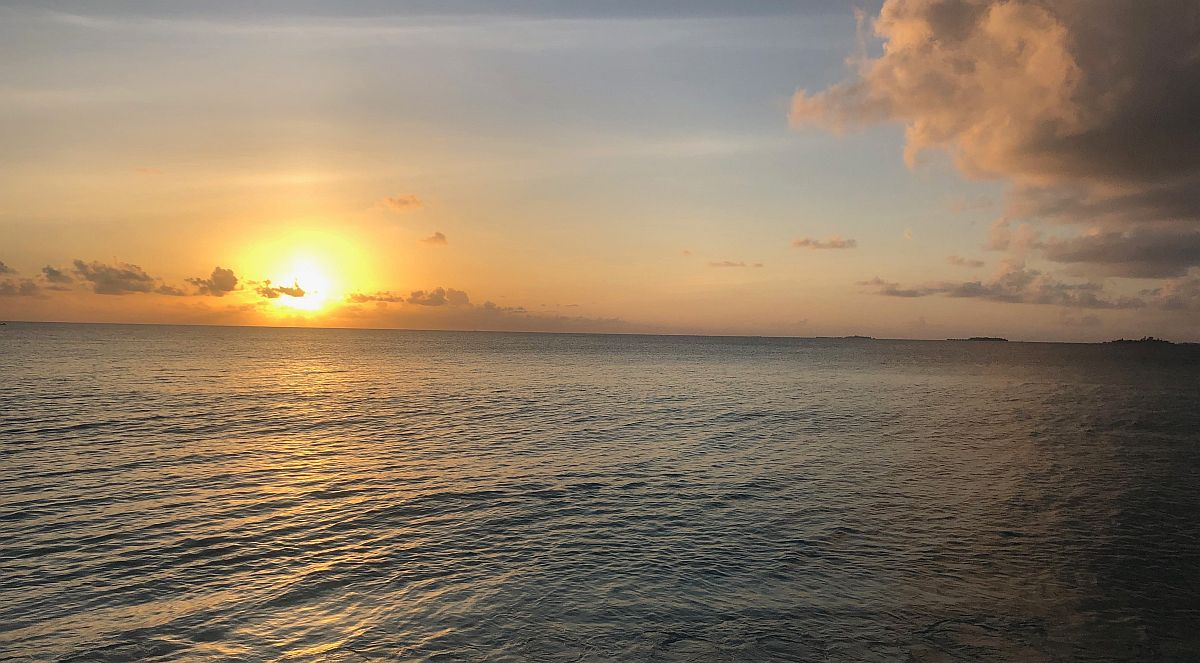 Sunset on the Maldives Whale Shark Research Project
